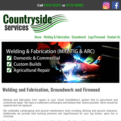 Screenshot of Countryside Services website.