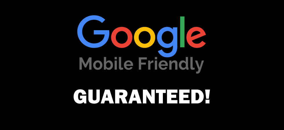 Slide stating Google Mobile Friendly guaranteed.