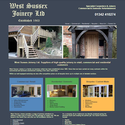 Screenshot of West Sussex Joinery website.